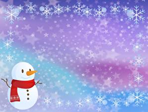 Pictures New year Snowflakes Snowman Template greeting card