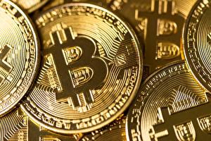 Bakgrunnsbilder Nærbilde Mynter Bitcoin Gylden