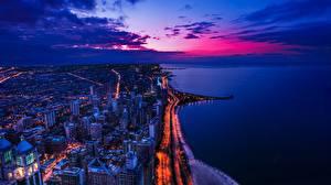 Desktop hintergrundbilder Küste Vereinigte Staaten Abend Gebäude Ozean Himmel Von oben Städte