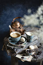 Photo Coffee Cappuccino Chocolate Milk Kettle Cup French macarons Pitcher Food