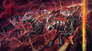 Pictures DOTA 2 Chaos Knight Warrior Horse Armour Fantasy