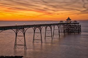 Hintergrundbilder England Abend Küste Bootssteg Clevedon Pier, Somerset Natur
