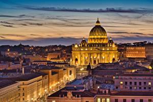 Hintergrundbilder Abend Haus Italien Rom St. Peter's Basilica
