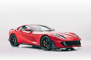 Fotos Ferrari Tuning Rot Metallisch Grauer Hintergrund Mansory, 812, Superfast Autos