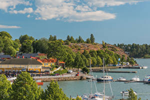 Picture Finland Building Berth Riverboat Coast Naantali Harbour Cities
