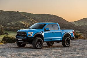Fotos Ford Blau Metalle Pick-up Raptor, F-150, Hennessey, 2019 Autos