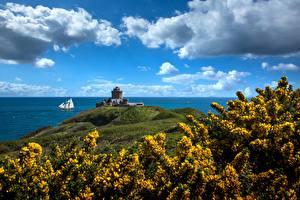 デスクトップの壁紙、、フランス、海岸、空、要塞、雲、Brittany, Fort La Latte、自然