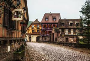 Bureaubladachtergronden Frankrijk Gebouw Weg Straat Kaysersberg Steden