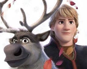 Hintergrundbilder Die Eiskönigin – Völlig unverfroren Hirsche Großansicht Disney Kerl Kristoff, Sven