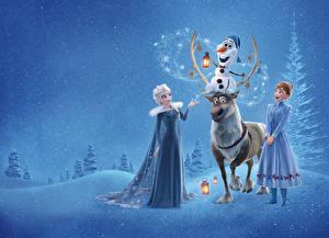 Bilder Die Eiskönigin – Völlig unverfroren Hirsche Disney Elsa, Olaf, Anna, Sven Mädchens