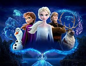Wallpaper Frozen 2013 film Deer Disney Snowman Guy Kristoff, Olaf, Sven, Anna, Elsa Cartoons 3D_Graphics Girls