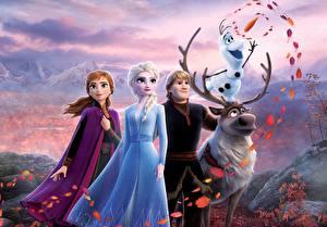Images Frozen 2013 film Deer Disney Snowmen Young man Kristoff, Olaf, Sven, Anna, Elsa Cartoons 3D_Graphics Girls