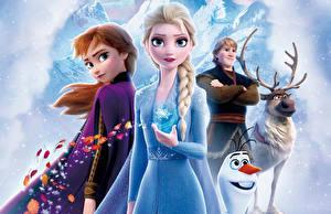 Tapety na pulpit Kraina lodu 2013 Jeleń Disney Bałwany Młody człowiek Warkocze Kristoff, Olaf, Sven, Anna, Elsa kreskówka Grafika_3D Dziewczyny
