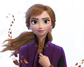 Images Frozen 2013 film Disney White background Anna Cartoons 3D_Graphics Girls