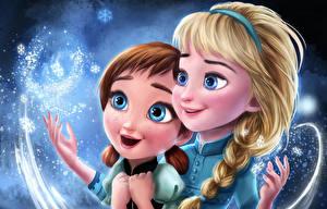 Hintergrundbilder Die Eiskönigin – Völlig unverfroren Gezeichnet Zopf Anna, Elsa Zeichentrickfilm Mädchens