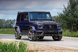 Wallpapers G-Wagen Mercedes-Benz Blue AMG 63 2018 Top Car automobile
