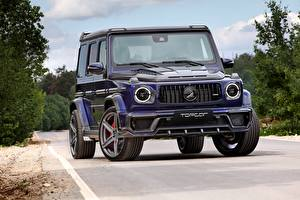 Pictures G-Wagen Mercedes-Benz Front Blue AMG 63 2018 Top Car Cars