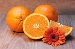 Tapety na pulpit Gerbery Pomarańcza owoc Pomarańczowy Kawałek żywność