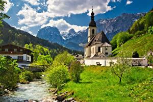 Hintergrundbilder Deutschland Berg Kirchengebäude Fluss Brücke Bayern Alpen Wolke Ramsau, St Sebastian Church