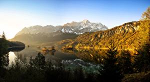 Wallpaper Germany Mountain Forest Lake Bavaria Trees Eibsee Nature