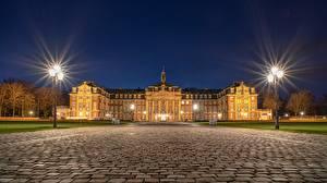 Bilder Deutschland Nacht Palast Straßenlaterne Muenster, North Rhine-Westphalia Städte