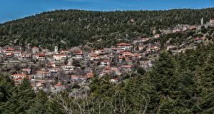Hintergrundbilder Griechenland Gebäude Wald Hügel Roino Tripoli Städte