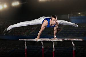 Images Gymnastics Men Hands Legs stance athletic