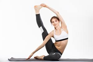 Bilder Gymnastik Joga Dehnübung Bein Hand Posiert Sport Mädchens