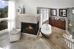 Hintergrundbilder Innenarchitektur Design Badezimmer Kamin