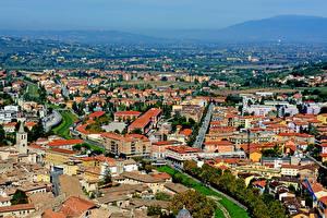 Hintergrundbilder Italien Gebäude Von oben Spoleto, Perugia Städte