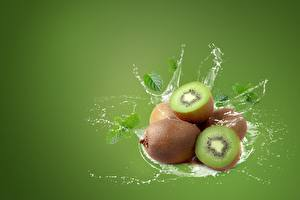Wallpapers Chinese gooseberry Water splash Colored background Food
