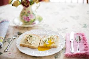 Fotos Messer Brot Frühstück Teller Löffel Spiegelei