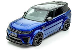 Bilder Land Rover Weißer hintergrund Crossover Metallisch Blau 2019-20 Mansory Range Rover Sport SVR Autos