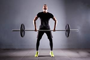 Bilder Mann Hantelstange Trainieren Sport