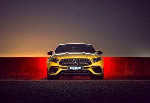 Hintergrundbilder Mercedes-Benz Vorne Gelb AMG A 45 S 4MATIC
