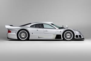 Image Mercedes-Benz Silver color Metallic Side Gray background CLK GTR AMG Coupe, 1997 automobile