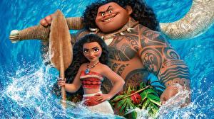 Bureaubladachtergronden Vaiana 2016 Tatoeage Maui Cartoons Jonge_vrouwen