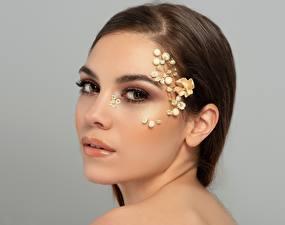Bilder Model Gesicht Schminke Starren junge frau