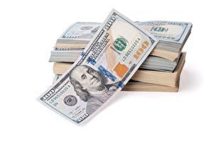 Hintergrundbilder Geld Dollars Papiergeld Weißer hintergrund 100