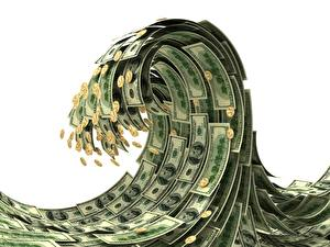 Fotos Geld Dollars Geldscheine Münze Wasserwelle
