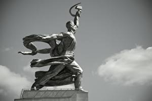 Pictures Monuments Moscow Russia Black and white Side Worker And Collective Farmer