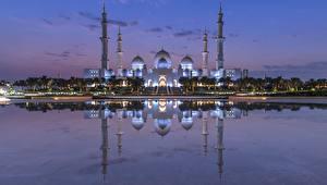 Bakgrunnsbilder Moské De forente arabiske emirater Kveld Refleksjon Sheikh Zayed Mosque, Abu Dhabi Byer
