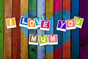 Hintergrundbilder Muttertag Herz Bretter Wort Englische Mehrfarbige