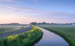 Hintergrundbilder Niederlande Morgen Kanal Nebel Woudse Polder Natur