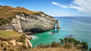 Bilder Neuseeland Meer Küste Felsen Cape Farewell Arch, Puponga