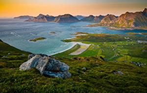 Hintergrundbilder Norwegen Gebirge Lofoten Küste Bucht Ryten