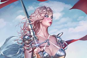 Picture Painting Art Warrior Swords Blonde girl Hair Beautiful KyuYong Eom Fantasy Girls