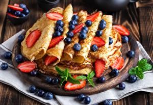 Wallpaper Hotcake Blueberries Strawberry Mint