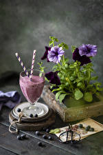 Images Petunia Still-life Blueberries Smoothie Stemware Flowers