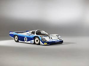 デスクトップの壁紙、、ポルシェ、グレーの背景、956 C Coupe, 24 Hours of Le Mans, 1983、